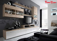 High End Contemporary Bedroom Furniture Living Room Wall Units With LED Lights
