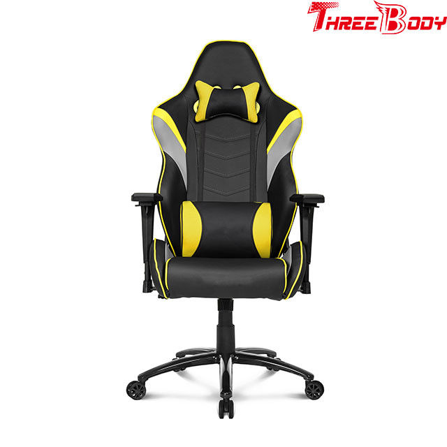 Black And Yellow Gaming Chair , Adjustable Computer Gaming Desk Chair