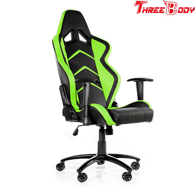 360 Degree Gaming Chair Durable , Black And Green Racing Seat Gaming Chair