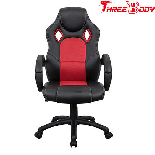 Black And  Red Executive Racing Office Chair Breathable High Straight Back