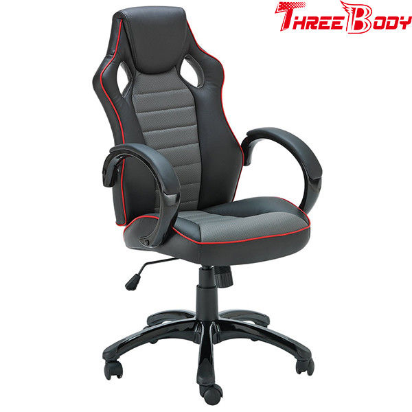 Black And Gray Executive Racing Office Chair Human - Oriented Ergonomic Designed