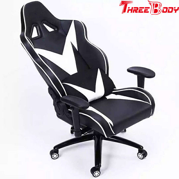 Black And White High Back Gaming Chair , Light Weight Ergonomic Gaming Chair