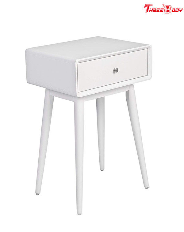 French White Contemporary Bedroom Furniture Wood Rory One Drawer Side Table