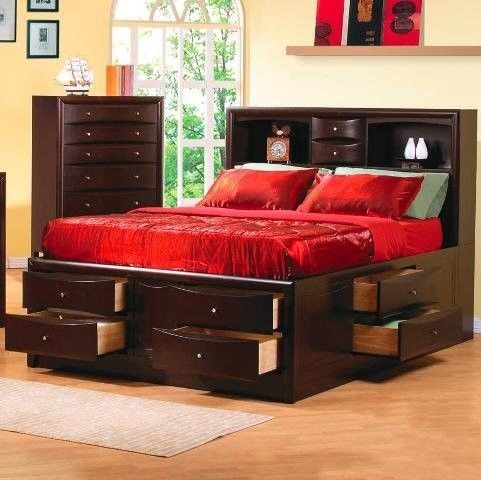 Phoenix Contemporary Bedroom Furniture Queen Bookcase Bed With Underbed Storage Drawers