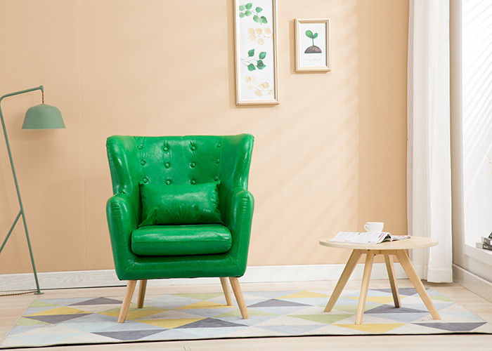 Solid Wood Legs Fabric Corner Sofa , One Seater Green Fabric Sofa For Hotel