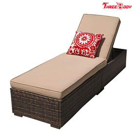 Patio Chaise Outdoor Lounge Sofa Hight Adjustable Dengan Cushion Espresso Brown