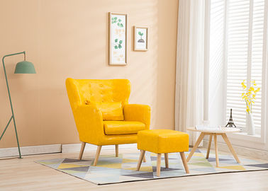 Living Room Fabric Wooden Sofa Warna Ming Kuning Dengan High Density Sponge